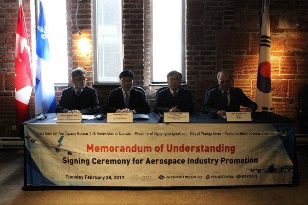 Korea Institute of Industrial Technology Signs MOU with Consortium for Aerospace Research and Innovation in Canada (CARIC) and Ryerson University